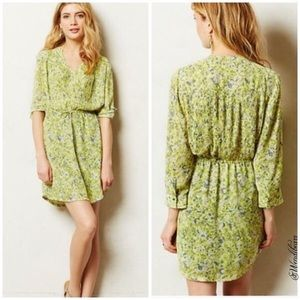 Anthropologie Maeve Yellow Floral Dress Size M